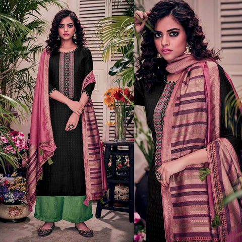 BLACK-GREEN PASHMINA WOOL UNSTITCHED SALWAR KAMEEZ SUIT w EMBR & PALE VIOLET RED PRINTED SHAWL DRESS MATERIAL LADIES DEN