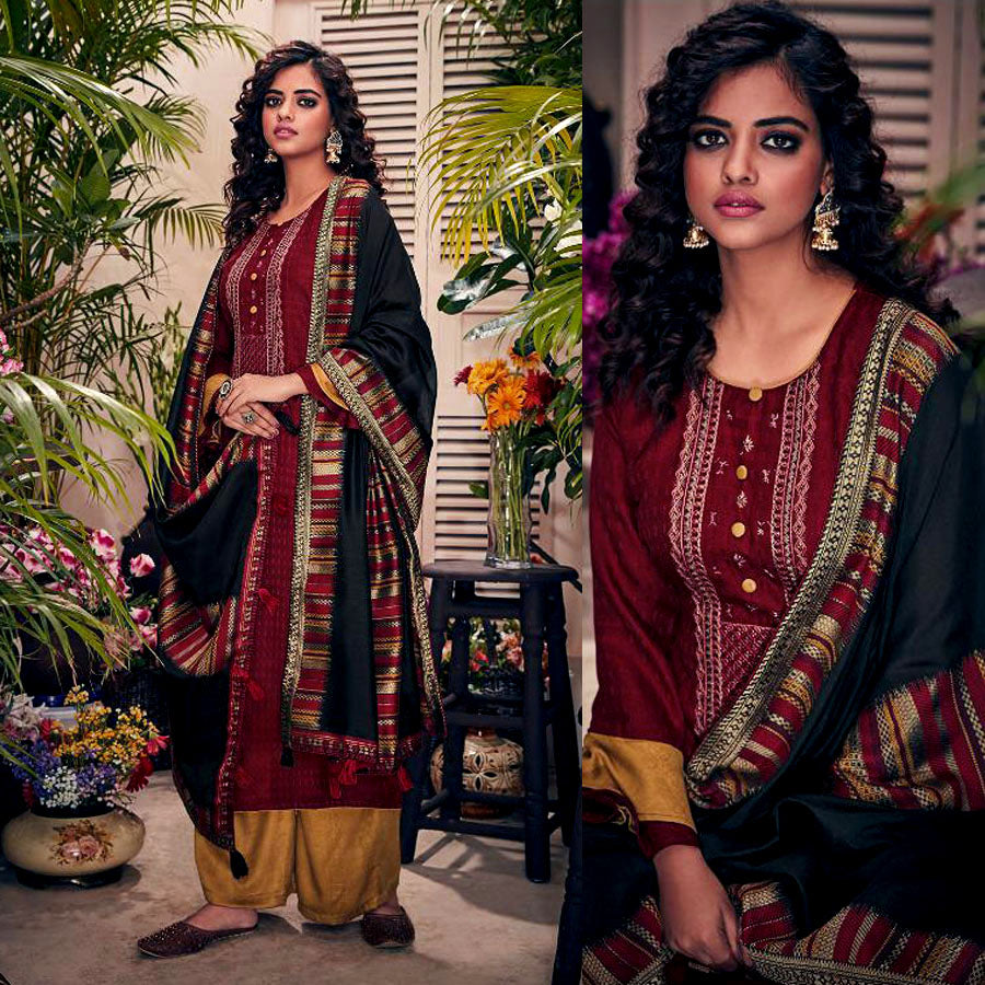 MAROON-GOLDENROD PASHMINA WOOL UNSTITCHED SALWAR KAMEEZ SUIT w EMBR & BLACK PRINTED SHAWL DRESS MATERIAL LADIES DEN