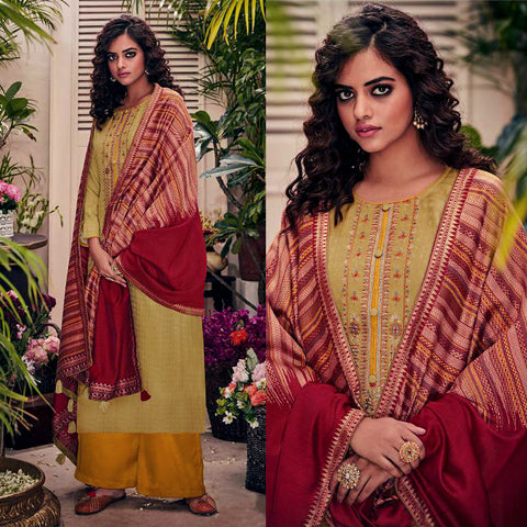 KHAKI-DARK YELLOW PASHMINA WOOL UNSTITCHED SALWAR KAMEEZ SUIT w EMBR & MAROON PRINTED SHAWL DRESS MATERIAL LADIES DEN
