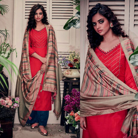 RED-DARK BLUE PASHMINA WOOL UNSTITCHED SALWAR KAMEEZ SUIT w EMBR & LT BROWN PRINTED SHAWL DRESS MATERIAL LADIES DEN