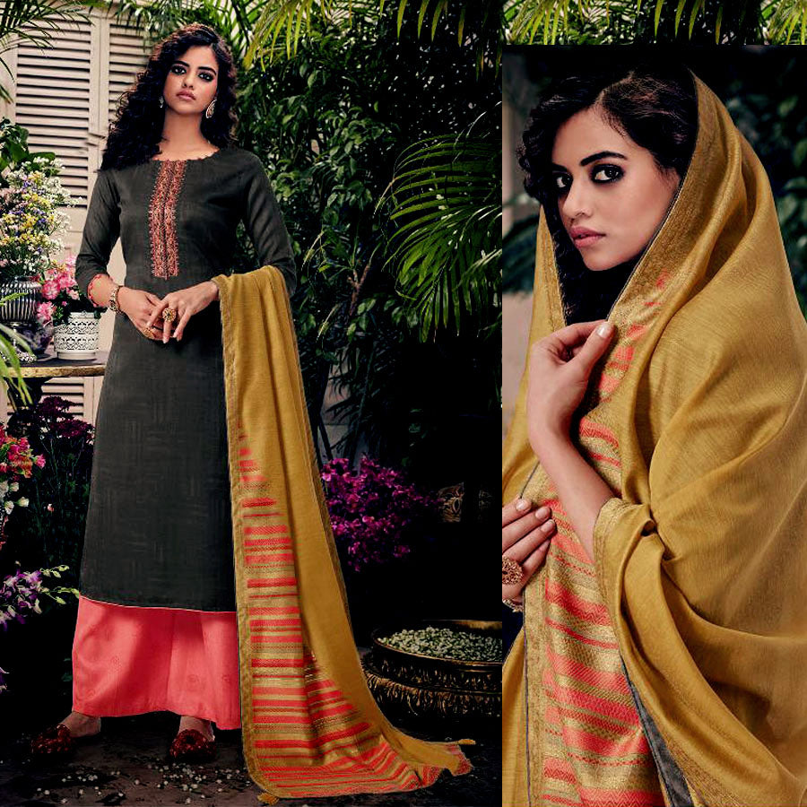 DARK BROWN-LT RED PASHMINA WOOL UNSTITCHED SALWAR KAMEEZ SUIT w EMBR & YELLOW PRINTED SHAWL DRESS MATERIAL LADIES DEN