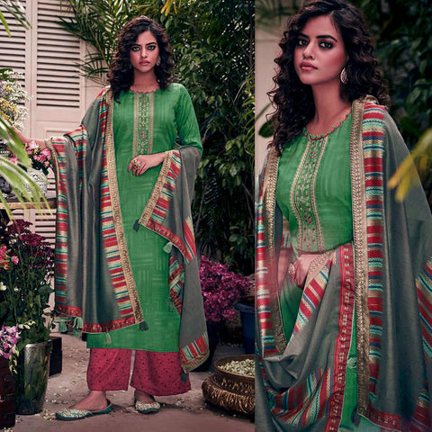 GREEN-VIOLET RED PASHMINA WOOL UNSTITCHED SALWAR KAMEEZ SUIT w EMBR & GRAY PRINTED SHAWL DRESS MATERIAL LADIES DEN