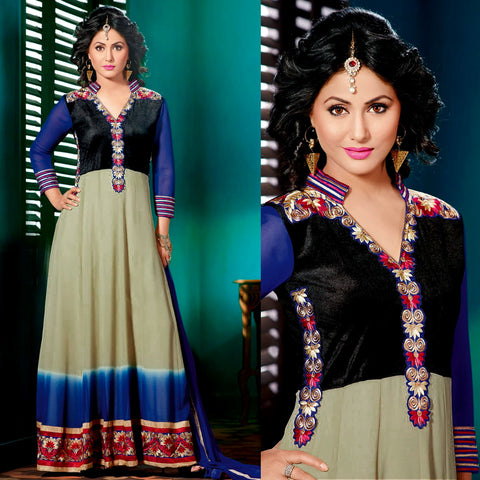BLACK-BLUE-GRAY GEORGETTE UNSTITCHED ANARKALI SALWAR KAMEEZ SUIT GOWN DRESS MATERIAL w EMBR LADIES DEN