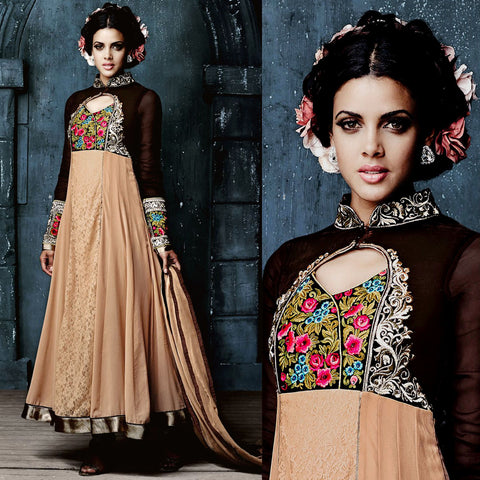 FAUN GEORGETTE UNSTITCHED ANARKALI SALWAR KAMEEZ SUIT GOWN DRESS MATERIAL w EMBR LADIES DEN