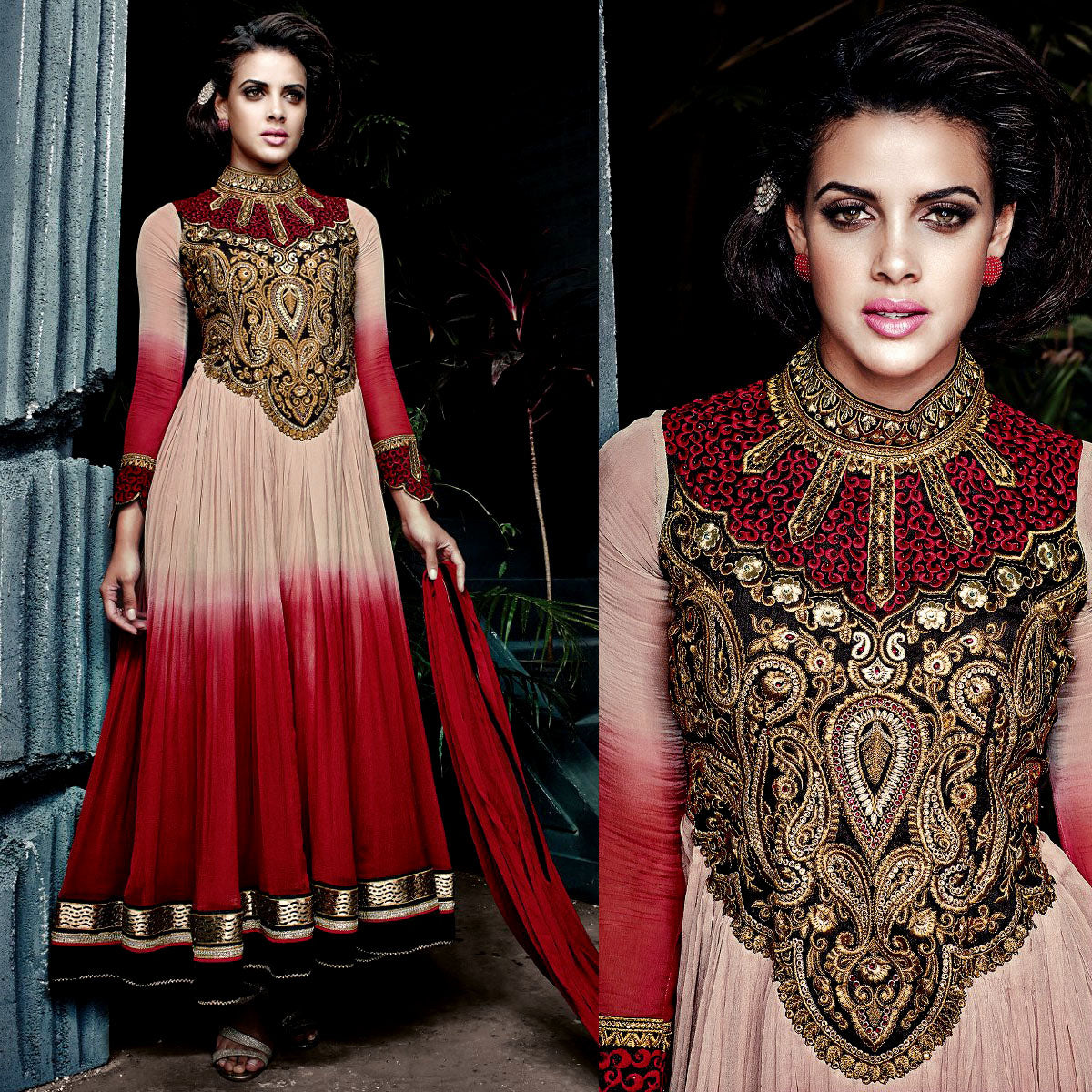 RED-PALE BEIGE GEORGETTE UNSTITCHED ANARKALI SALWAR KAMEEZ SUIT GOWN DRESS MATERIAL w EMBR LADIES DEN
