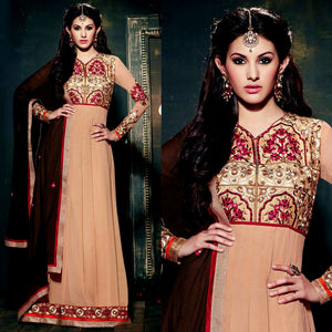 DARK BEIGE GEORGETTE UNSTITCHED ANARKALI SALWAR KAMEEZ SUIT GOWN DRESS MATERIAL w EMBR LADIES DEN