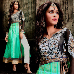 BLACK-WHITE-AQUAMARINE NET UNSTITCHED ANARKALI SALWAR KAMEEZ SUIT GOWN DRESS MATERIAL w EMBR LADIES DEN