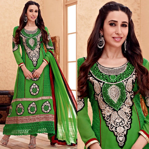 PARROT GREEN GEORGETTE UNSTITCHED LONG SALWAR KAMEEZ SUIT DRESS MATERIAL HEAVY EMBR LADIES DEN