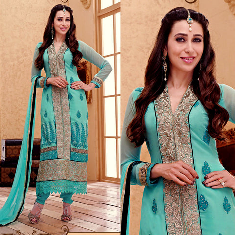 LIGHT TURQUOISE GEORGETTE UNSTITCHED LONG SALWAR KAMEEZ SUIT DRESS MATERIAL HEAVY EMBR LADIES DEN