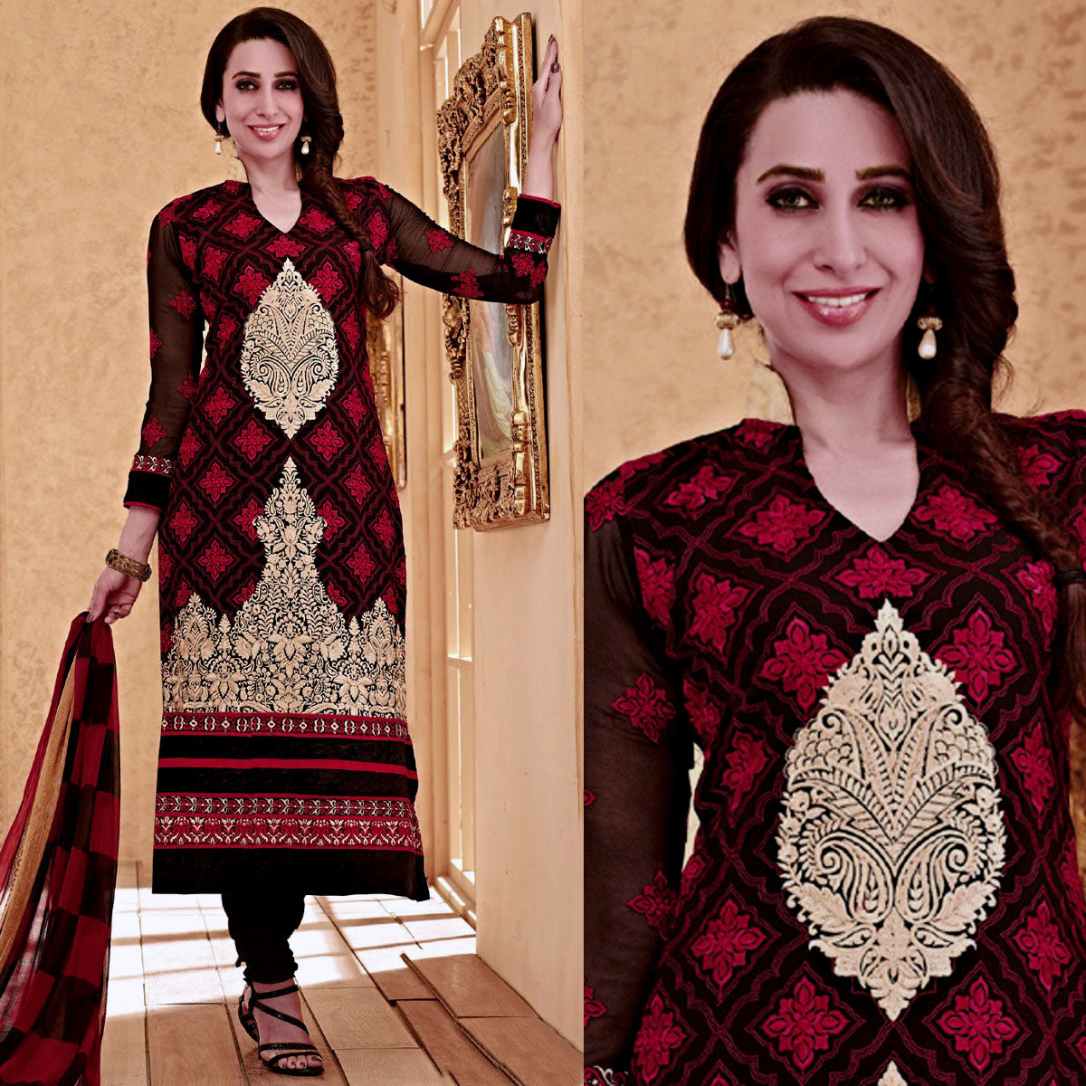 BLACK-RED GEORGETTE UNSTITCHED LONG SALWAR KAMEEZ SUIT DRESS MATERIAL HEAVY EMBR LADIES DEN