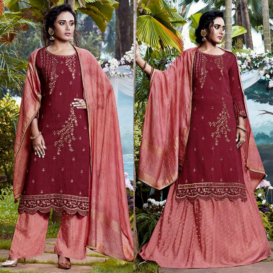 MAROON-SALMON JACQUARD COTTON SILK UNSTITCHED SALWAR KAMEEZ SUIT DRESS MATERIAL HEAVY EMBR LADIES DEN