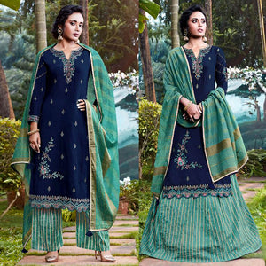DARK NAVY BLUE-SEA GREEN JACQUARD COTTON SILK UNSTITCHED SALWAR KAMEEZ SUIT DRESS MATERIAL HEAVY EMBR LADIES DEN