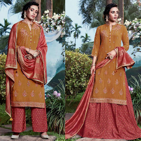 DULL GOLDENROD-TERRACOTTA RED JACQUARD COTTON SILK UNSTITCHED SALWAR KAMEEZ SUIT DRESS MATERIAL HEAVY EMBR LADIES DEN