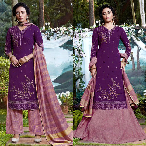 PURPLE-PALE VIOLET RED JACQUARD COTTON SILK UNSTITCHED SALWAR KAMEEZ SUIT DRESS MATERIAL HEAVY EMBR LADIES DEN