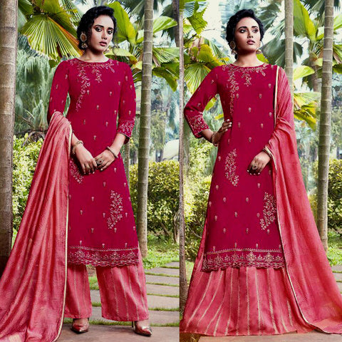 DEEP PINK-HOT PINK JACQUARD COTTON SILK UNSTITCHED SALWAR KAMEEZ SUIT DRESS MATERIAL HEAVY EMBR LADIES DEN