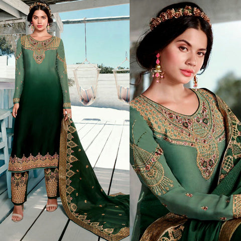 LIGHT SEA GREEN-DARK GREEN SATIN GEORGETTE UNSTITCHED SALWAR KAMEEZ SUIT DRESS MATERIAL HEAVY EMBR DUPATTA LADIES DEN