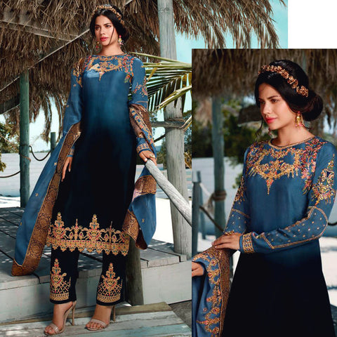BLUISH GRAY-NIGHT BLUE SATIN GEORGETTE UNSTITCHED SALWAR KAMEEZ SUIT DRESS MATERIAL HEAVY EMBR DUPATTA LADIES DEN
