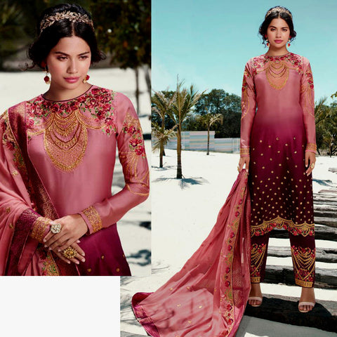 SALMON PINK-DARK MAROON SATIN GEORGETTE UNSTITCHED SALWAR KAMEEZ SUIT DRESS MATERIAL HEAVY EMBR DUPATTA LADIES DEN