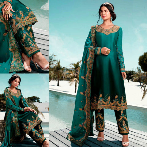 DARK TURQUOISE-DARK TEAL SATIN GEORGETTE UNSTITCHED SALWAR KAMEEZ SUIT DRESS MATERIAL HEAVY EMBR DUPATTA LADIES DEN