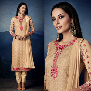BEIGE GEORGETTE UNSTITCHED LONG SALWAR KAMEEZ SUIT DRESS MATERIAL HEAVY AARI WORK LADIES DEN
