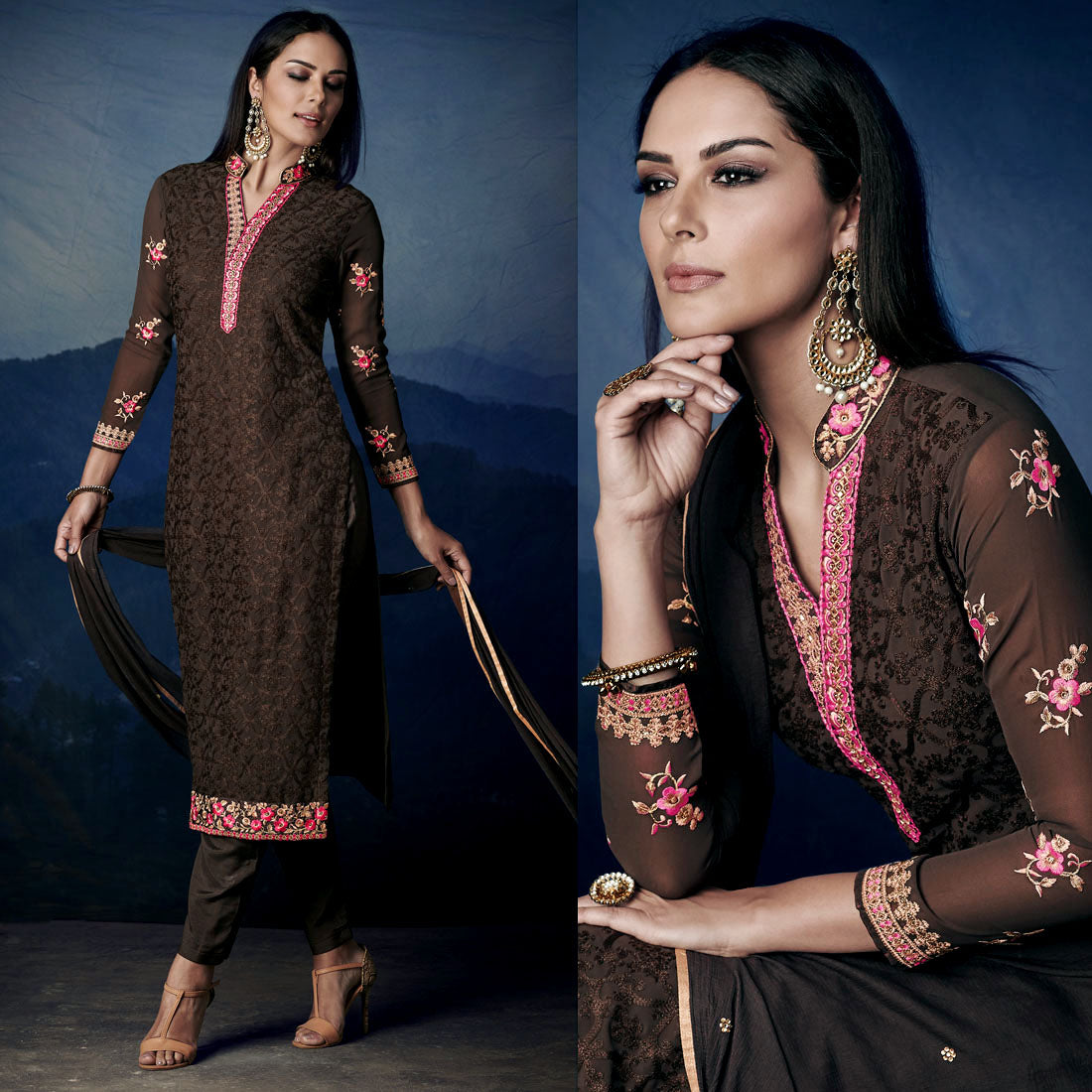 DARK COFFEE BROWN GEORGETTE UNSTITCHED LONG SALWAR KAMEEZ SUIT DRESS MATERIAL HEAVY AARI WORK LADIES DEN