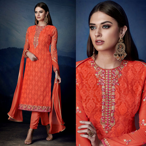 DEEP ORANGE GEORGETTE UNSTITCHED LONG SALWAR KAMEEZ SUIT DRESS MATERIAL HEAVY AARI WORK LADIES DEN