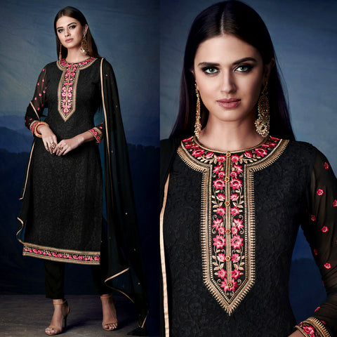 BLACK GEORGETTE UNSTITCHED LONG SALWAR KAMEEZ SUIT DRESS MATERIAL HEAVY AARI WORK LADIES DEN