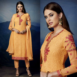 YELLOW GEORGETTE UNSTITCHED LONG SALWAR KAMEEZ SUIT DRESS MATERIAL HEAVY AARI WORK LADIES DEN