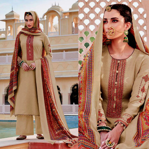 BEIGE KASHMIRI STYLE EMBR & PRINTED SATIN COTTON UNSTITCHED SALWAR KAMEEZ SUIT DRESS MATERIAL LADIES DEN