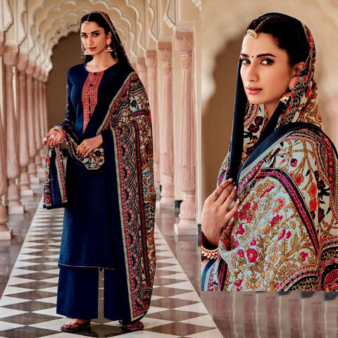 DARK NAVY BLUE KASHMIRI STYLE EMBR & PRINTED SATIN COTTON UNSTITCHED SALWAR KAMEEZ SUIT DRESS MATERIAL LADIES DEN