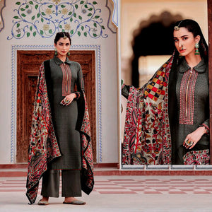 DARK ASH GRAY KASHMIRI STYLE EMBR & PRINTED SATIN COTTON UNSTITCHED SALWAR KAMEEZ SUIT DRESS MATERIAL LADIES DEN