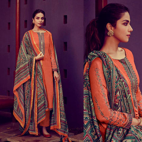 DARK ORANGE KASHMIRI STYLE EMBR & PRINTED SATIN COTTON UNSTITCHED SALWAR KAMEEZ SUIT DRESS MATERIAL LADIES DEN