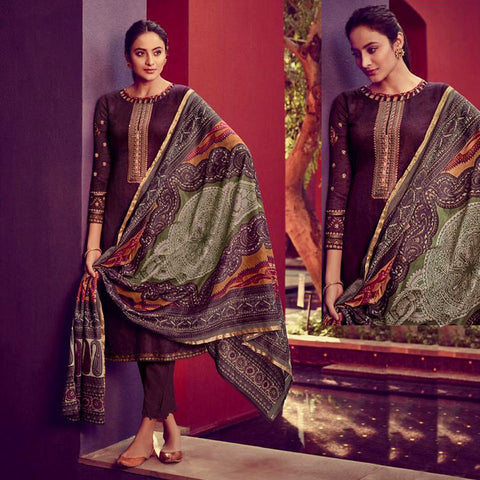 DARK COFFEE BROWN KASHMIRI STYLE EMBR & PRINTED SATIN COTTON UNSTITCHED SALWAR KAMEEZ SUIT DRESS MATERIAL LADIES DEN