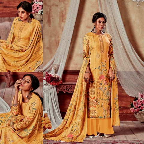 YELLOW PRINTED SATIN COTTON UNSTITCHED SALWAR KAMEEZ SUIT DRESS MATERIAL LADIES DEN