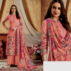 DULL SALMON PRINTED SATIN COTTON UNSTITCHED SALWAR KAMEEZ SUIT DRESS MATERIAL LADIES DEN