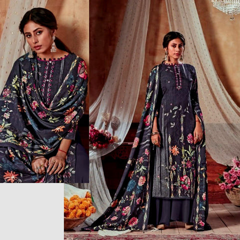 DARK SLATE GRAY PRINTED SATIN COTTON UNSTITCHED SALWAR KAMEEZ SUIT DRESS MATERIAL LADIES DEN