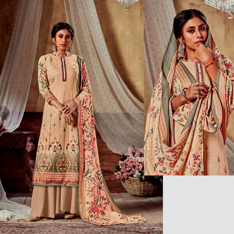 BEIGE PRINTED SATIN COTTON UNSTITCHED SALWAR KAMEEZ SUIT DRESS MATERIAL LADIES DEN