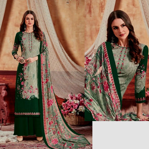 GRAYISH GREEN-DARK GREEN PRINTED SATIN COTTON UNSTITCHED SALWAR KAMEEZ SUIT DRESS MATERIAL LADIES DEN