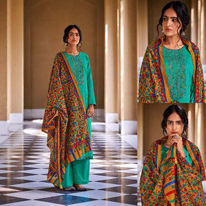 MEDIUM TURQUOISE KASHMIRI STYLE EMBR & PRINTED SATIN COTTON UNSTITCHED SALWAR KAMEEZ SUIT DRESS MATERIAL LADIES DEN