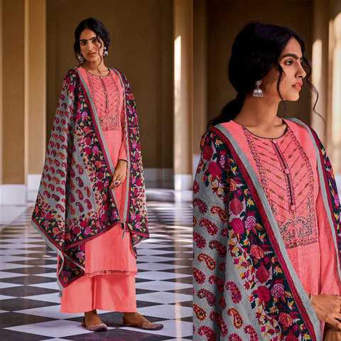 HOT PINK KASHMIRI STYLE EMBR & PRINTED SATIN COTTON UNSTITCHED SALWAR KAMEEZ SUIT DRESS MATERIAL LADIES DEN