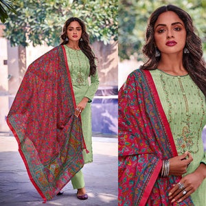 PASTEL GREEN KASHMIRI STYLE EMBR & PRINTED SATIN COTTON UNSTITCHED SALWAR KAMEEZ SUIT DRESS MATERIAL LADIES DEN