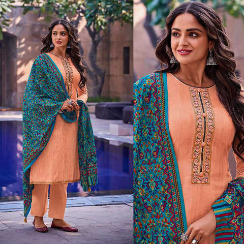 PEACH KASHMIRI STYLE EMBR & PRINTED SATIN COTTON UNSTITCHED SALWAR KAMEEZ SUIT DRESS MATERIAL LADIES DEN