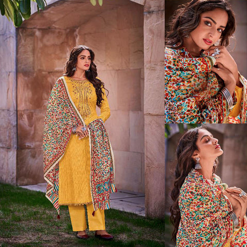 YELLOW KASHMIRI STYLE EMBR & PRINTED SATIN COTTON UNSTITCHED SALWAR KAMEEZ SUIT DRESS MATERIAL LADIES DEN