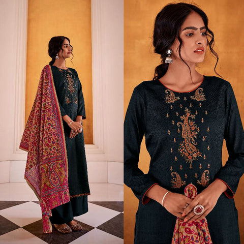 BLACK KASHMIRI STYLE EMBR & PRINTED SATIN COTTON UNSTITCHED SALWAR KAMEEZ SUIT DRESS MATERIAL LADIES DEN