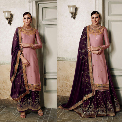 DULL PINK-DARK WINE SATIN & BANARASI SILK UNSTITCHED PATIALA SALWAR KAMEEZ SUIT DRESS MATERIAL HEAVY EMBR LADIES DEN