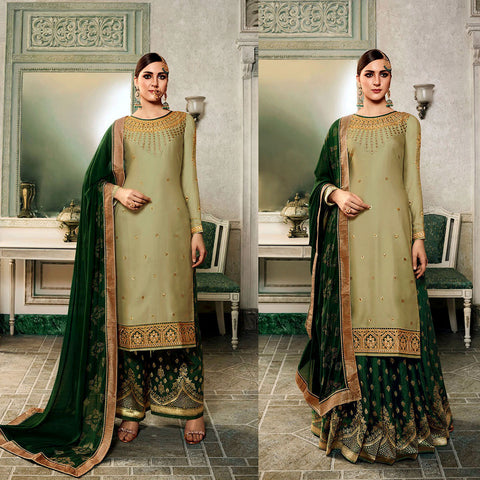 CARDAMOM & DARK GREEN SATIN & BANARASI SILK UNSTITCHED PATIALA SALWAR KAMEEZ SUIT DRESS MATERIAL HEAVY EMBR LADIES DEN