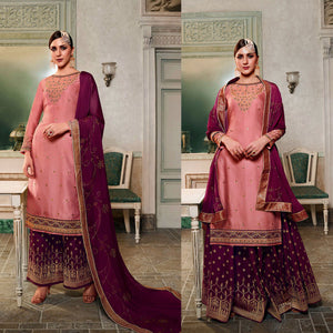 SALMON PINK-DARK PURPLE SATIN & BANARASI SILK UNSTITCHED PATIALA SALWAR KAMEEZ SUIT DRESS MATERIAL HEAVY EMBR LADIES DEN
