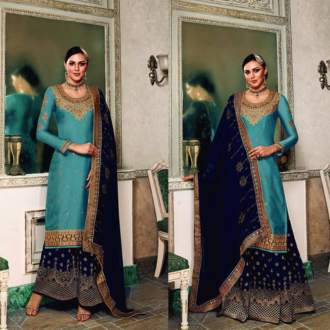 DARK CYAN-DARK NAVY BLUE SATIN & BANARASI SILK UNSTITCHED PATIALA SALWAR KAMEEZ SUIT DRESS MATERIAL HEAVY EMBR LADIES DEN