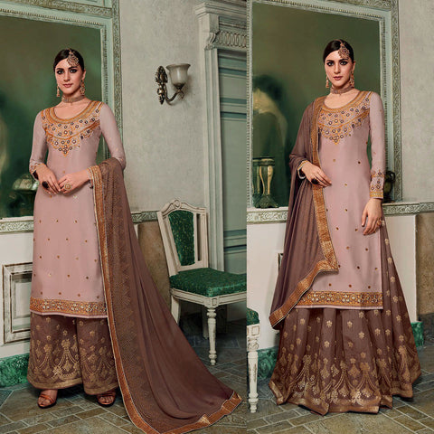 LIGHT-DARK ROSE BROWN SATIN & BANARASI SILK UNSTITCHED PATIALA SALWAR KAMEEZ SUIT DRESS MATERIAL HEAVY EMBR LADIES DEN