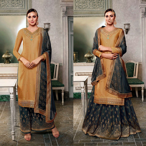 DULL GOLDENROD-DARK GRAY SATIN & BANARASI SILK UNSTITCHED PATIALA SALWAR KAMEEZ SUIT DRESS MATERIAL HEAVY EMBR LADIES DEN